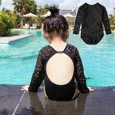 *╮小衣衫S13╭*小性感蕾絲長袖露背連身泳衣1070424