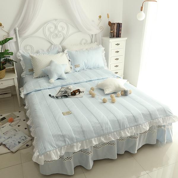 純棉鋪棉床罩組 安妮兒 淺藍色 高品質 5尺 標準雙人 兩用被 薄床罩 冬夏兩用被 鋪棉被套 佛你
