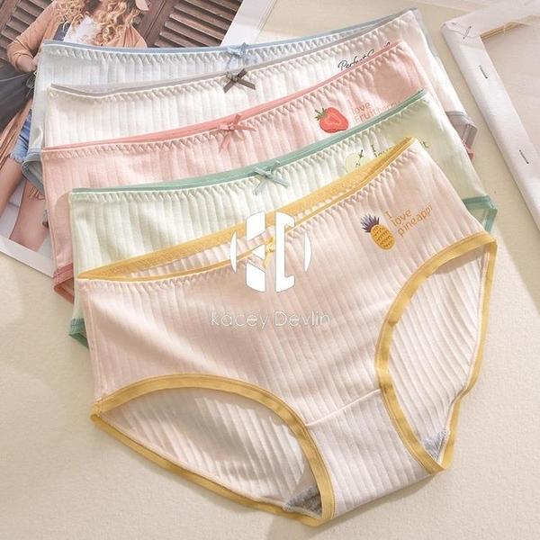 內褲女純棉夏季薄款中腰無痕透氣少女可愛日系女士三角褲素色底褲【Kacey Devlin】