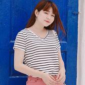 Poly Lulu 簡約V領條紋修身圓弧T恤-白【91010166】