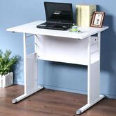 Homelike 巧思辦公桌-仿馬鞍皮80cm桌面:白色/桌腳:白色/飾板:紅色