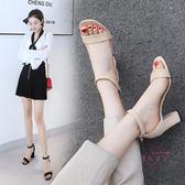 新款粗跟涼鞋女夏季百搭大尺碼高跟鞋中跟一字扣帶涼鞋露趾小碼 全館85折