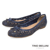 Tino Bellini 巴西進口雷射繁華鏤空鉚釘娃娃鞋_ 藍 A83049 歐洲進口款
