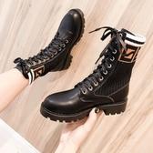 馬丁靴女英倫風2019春秋單靴彈力襪靴帥氣粗跟短靴中筒機車靴中跟『潮流世家』