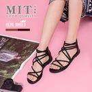 [Here Shoes]涼拖鞋-MIT台灣製羅馬交叉後拉鍊1.5cm低跟涼鞋─KDW1150