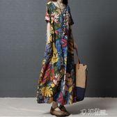 復古文藝民族風女裝寬鬆大碼印花長裙短袖棉麻洋裝 沸點奇跡