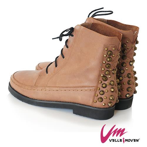 短靴 英式搖滾 VELLE MOVEN 帥性鉚釘 綁帶靴 街頭時尚風 / 可可色