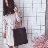 包包2018春新款韓版時尚潮簡約撞色女包百搭托特包手提包單肩大包『韓女王』