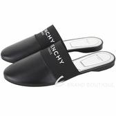 GIVENCHY PARIS 字母織帶羊皮平底穆勒鞋(黑色) 1940225-01