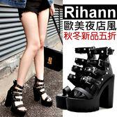 克妹Ke-Mei【AT54372】Rihanna歐美夜店風粗跟厚底鉚釘皮釦摟空露指短靴