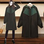 外套 風衣女L-5XL冬裝加絨加厚防兔貂大碼風衣韓版時尚寬松減齡外套M031韓衣裳
