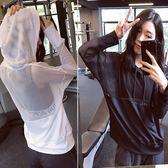 春季新品透氣速干連帽T恤健身服瑜伽跑步上衣寬鬆網紗運動罩衫