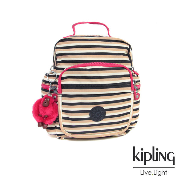 Kipling 簡約蜜橙條紋後背包-小