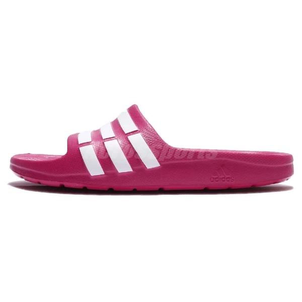 adidas 拖鞋 Duramo Slide K 粉紅 白 三條線 海灘拖 一片拖 運動拖鞋 大童鞋 女鞋【ACS】 G06797