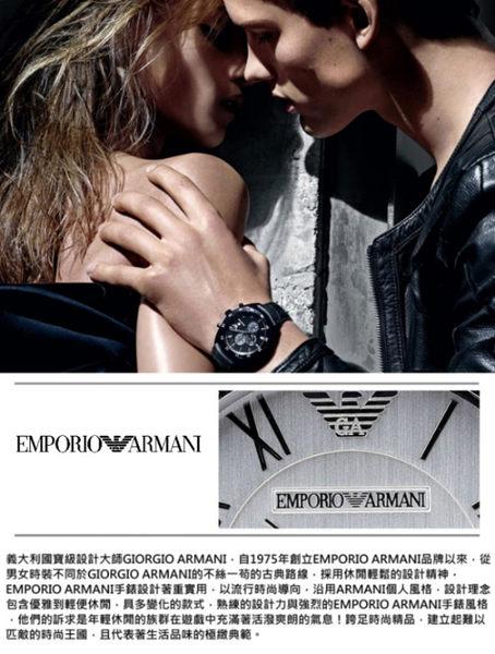 EMPORIO ARMANI銀色三眼日期真皮女錶(AR2436)