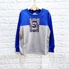 棒棒糖童裝(B96200)秋冬男大童藍拼灰色印花字母長袖上衣 120-170