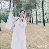 大袖衫女漢服飄逸超仙中國風學生廣袖齊胸襦裙套裝古裝清新刺繡CC4867『毛菇小象』