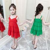 女童連衣裙2019新款夏裝沙灘裙超洋氣小女孩吊帶兒童雪紡洋裝 aj10757『黑色妹妹』