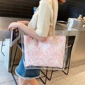 托特包 包包女2019新款韓版潮大容量透明果凍托特包Ins新款手提單肩大包 滿天星