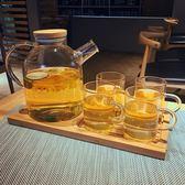 大容量玻璃冷水壺套裝家用加厚防爆涼水茶壺耐熱高溫水杯水具套裝HL 【好康八八折】