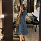 牛仔洋裝 牛仔連身裙女夏季2021新款復古短袖中長款收腰遮肉氣質襯衫長裙子 寶貝 618狂歡