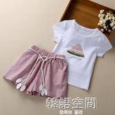 女童夏季套裝2018時尚洋氣套裝童裝新女孩T 恤套裝兒童短袖兩件套