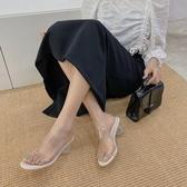 夏季新款仙女風潮一字拖鞋外穿水晶透明仙女風粗跟涼鞋女 - 風尚3C