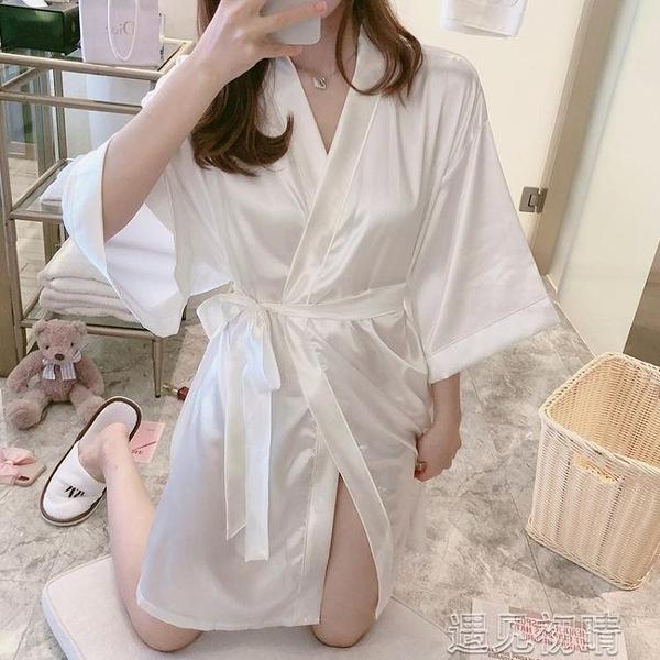 浴袍睡袍女夏季冰絲睡衣夏天薄款網紅性感可愛簡約日繫和服家居服浴袍【快速出貨】