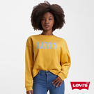 Levis 女款 重磅大學T / 復古寬鬆中短版 / Serif Logo / 芥末黃 / 380GSM厚棉