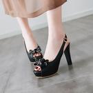 中大尺碼女鞋 百搭高跟涼鞋女夏2021春季新款仙女風魚嘴防水臺粗跟女鞋子羅馬鞋