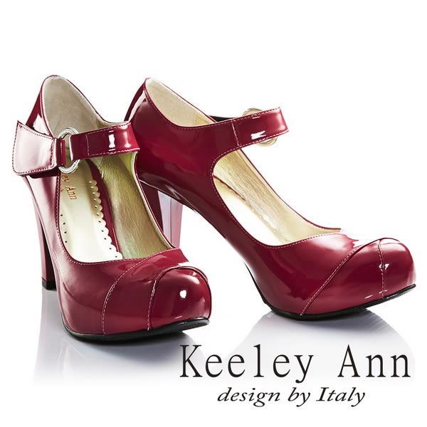★2017春夏★Keeley Ann年代風華~復古好萊塢光感亮澤瑪莉珍高跟鞋(桃紅色)