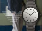 【時間道】EMPORIO ARMANI亞曼尼 經典簡約鋼帶腕錶/橫紋鏡面霧黑鋼(AR11259)免運費