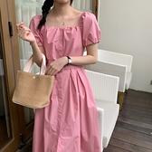 洋裝 韓系度假風復古方領單排扣泡泡袖綁帶連身長裙 花漾小姐【預購】