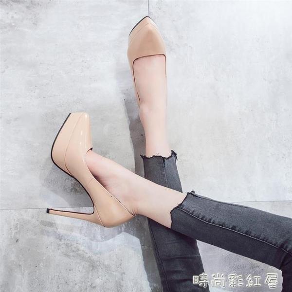 高跟鞋少女2020春款新款細跟尖頭單鞋防水台性感黑色百搭12cm10cm pinkQ 時尚女裝