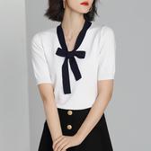 短袖針織衫-V領撞色繫帶蝴蝶結女T恤3色73xi21【巴黎精品】