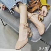 2020夏季名媛韓版氣質新款方頭粗跟涼鞋女一字扣OL風粗跟高跟涼鞋 PA15849『男人範』