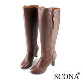 SCONA 全真皮 簡約率性雙側拉鍊長靴 咖啡色 8749-2