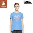 【Wildland 荒野 女 彈性印花圓領上衣《海藍》】0A81601/短袖/圓領T/運動衣/休閒衫
