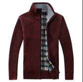 秋冬季男裝 男士針織衫 針織開衫外套 加絨加厚上衣 保暖外衣 拉鏈青年毛衣 男立領上衣 寬松服裝