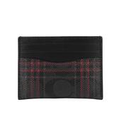 【COACH】格紋PVC卡片夾+長筒襪禮盒組(黑灰/紅色) F79851 QBM4K