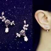 耳環 925純銀鑲鑽-花朵水滴生日情人節禮物女耳飾73du37[時尚巴黎]