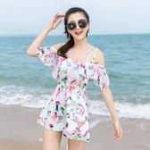 連體泳衣 新款韓式泳衣女遮肚子保守性感顯瘦小香風連體游泳裝LJ8278『小美日記』