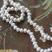 古典氣質扁圓強光淡水珍珠925純銀項鍊/設計家