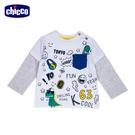 chicco-滑板恐龍-印圖假兩件長袖上衣