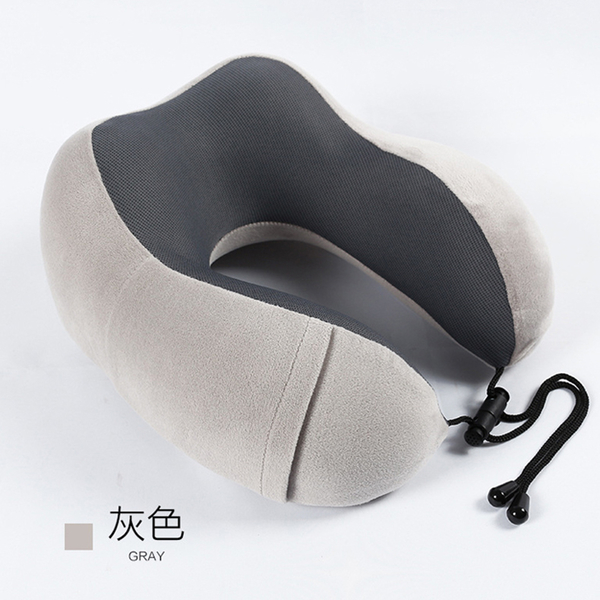 記憶棉護頸枕U型枕 銀狐絨汽車頸枕靠枕午睡午休枕旅行枕多功能車載枕頭回彈護頸枕 贈收納袋