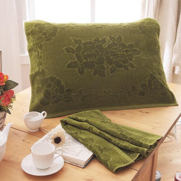 繽紛純棉枕巾-深綠 2入