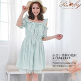 洋裝 露比設計‧露肩荷葉邊綁帶百褶短袖洋裝-綠色-Ruby s露比午茶