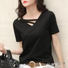 短袖女新款夏季白色t恤女V領寬鬆韓版黑色上衣休閑ins體恤潮 電購3C