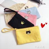 韓國卡通可愛迷你小錢包女零錢袋拉錬帆布手拿包手機包布藝零錢包      芊惠衣屋
