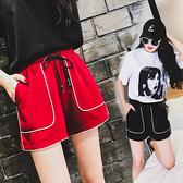 運動短褲女2021年新款夏季潮ins寬鬆外穿黑色高腰休閒大碼五分褲 【七七小鋪】